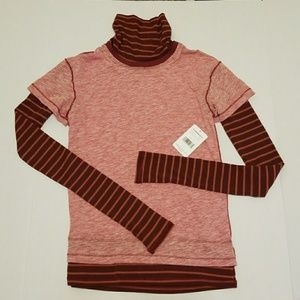 NWT Free People Washed Red Striped Turtleneck